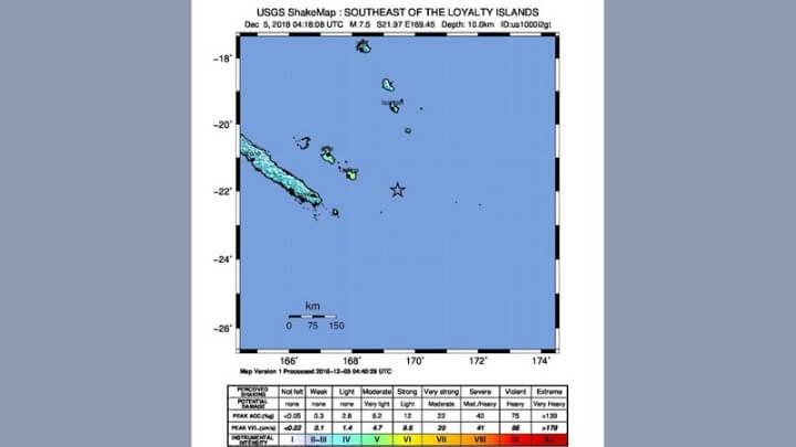 Νέος ισχυρός σεισμός ανοιχτά της Νέας Καληδονίας